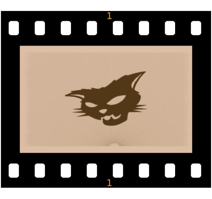 Katzenkopf mit Filmstreifen
